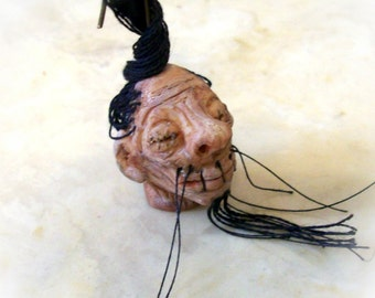 Shrunken Head Miniature Goolish Realistic Artisan Sculpted Tiny Hanging One Inch Head, For Haunted Dollhouse, Spooky Pendant, or Collectible