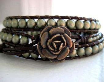 As Seen on The Vampire Diaries Elena Goddess Bracelet in Matte Gold Beaded Leather Triple Wrap Bracelet