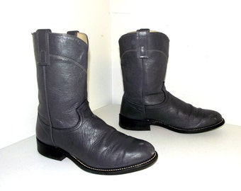 Vintage Grey leather Texas brand cowboy boots size 10 EE wide width