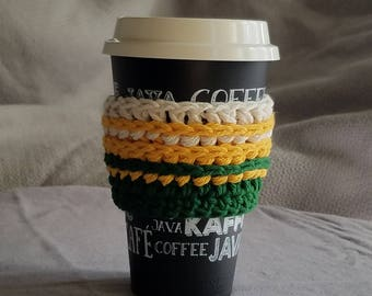 To go cup sleeve / hot cup jacket/ cup holder // green, gold, and white// CSU rams// ready to ship//green gift//reusable// gift