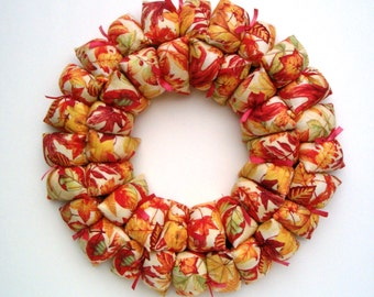 Fall fabric wreath / centerpiece, fall decor, Thanksgiving wall / door / table decoration, home decor