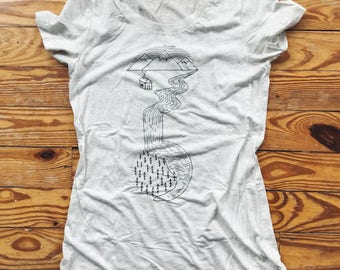 CLEARANCE Cream Gray Mountain Waterfall Short Sleeve Camping Shirt - Wearable Art, Hand-Drawn Adventure Clothing, Screen printed