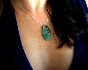 Raw Chrysoprase pendant- Jewelry gemstone boho necklace- Women green stone slice pendant- Fashion chrysoprase necklace- Women gift