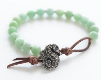 Seahorse Bracelet Beach Bracelet Seahorse Jewelry Amazonite Friendship Bracelet Beaded Bracelet Gemstone Knotted Boho Bracelet Gift for Her