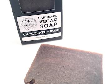 Chocolate + Rose Soap | Feminine Soap | Mature Skin Soap | Minimalist Soap | Minimalist Gift Idea for Vegan | Zero Waste | Ethically Made