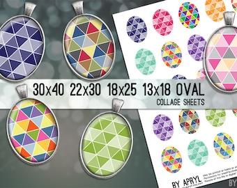 Geometric Triangle Digital Collage Sheet Oval 30x40 22x30 18x25 13x18  Oval Digital Collage Images for Glass Resin Pendants Cameo