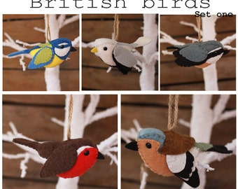 British birds set one PDF pattern, felt, sewing, sew your own, tree decorations, ornaments, blue tit, gull, chaffinch, nuthatch, robin