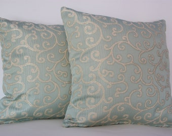 "Elegant blue swirl cushion covers 18"" pair aristocratic pillows, duck egg blue stately home interiors"