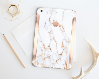 Marble Bianco Sivec Gold Veins with Rose Gold Detailing Vinyl Skin for the iPad Air 2, iPad mini 4 , iPad Pro - Platinum Edition