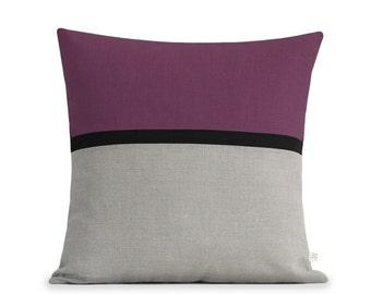 "20"" Amethyst Horizon Line Pillow Cover with Black & Natural Linen Stripes by JillianReneDecor, Modern Home Decor, Purple Striped Colorblock"