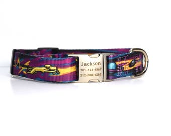 Space Dog Multi color Dog Collar with Personalized Laser Engraved Buckle - Fetch