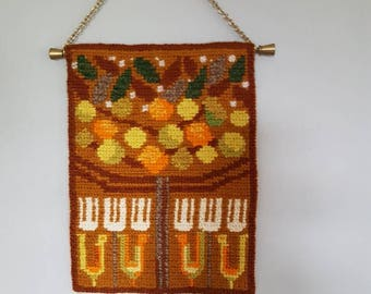 """Lovely 9 """" x 6 3/4""""/ twist stitch / needlepoint / embroidered / tree / wall hanging  tapestry from Sweden"""