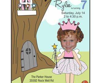 Fairy Princess Birthday Invitation, Photo Birthday Invitation, Fairy Garden Invitation, Custom Fairy Princess Birthday Invitation, Photo
