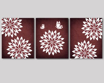 Burgundy wall art, decor, burgundy, white flowers, butterfly, bathroom, bedroom, living room, family room, kitchen wall art, set of 3 prints