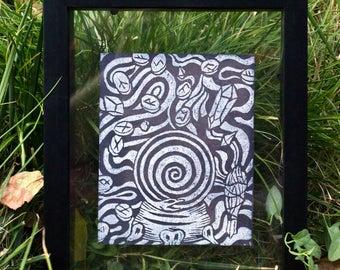 DIVINATION print, Linocut Print, Color Change Print, Linocut Card, Linocut Block Print, Art Prints, occult print