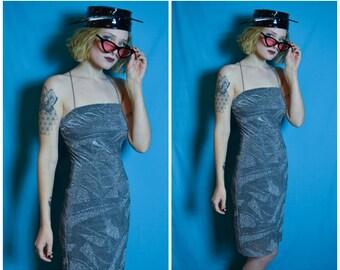 90s silver glittery slinky club mini dress with geometric pattern