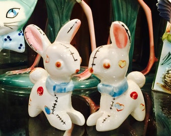 Anthropomorphic Patchwork Stuffed Animal Bunnies Salt and Pepper Shakers from Japan circa 1950s