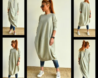 Maxi Dress, Grey Dress, Long Dress, Plus Size Dress, Shirt Dress, Kaftan Dress, Long Grey Dress, Long Sleeve Dress, Plus Size Maxi Dress