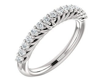 14K White Gold Diamond Wedding Band Ring For Women 0.35 Carats Shared Prong Set 15 Stone Anniversary Ring band Half Eternity