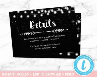 Rustic Wedding Invitation, Black and White, String Lights, Stars, Printable Wedding Invitation, Invitation Set, Wedding Details Card Insert