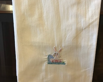 Tea towel with embroidered easter bunny