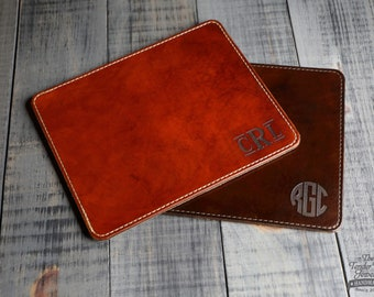 Personalized leather Mouse pad Custom leather mousepad Monogram Leather Mouse Pad  Gift for Dad, Mom, or Student