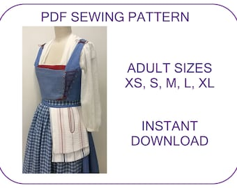 Belle Blue Village Dress ADULT SIZES PDF sewing pattern Provincial Belle Emma Watson movie costume Beauty and the Beast Belle cosplay patter