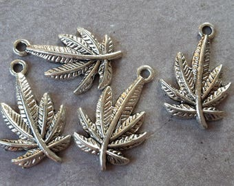 Charms leaves of cannabis sativa, 23 x 15 mm silver Metal leaf charms