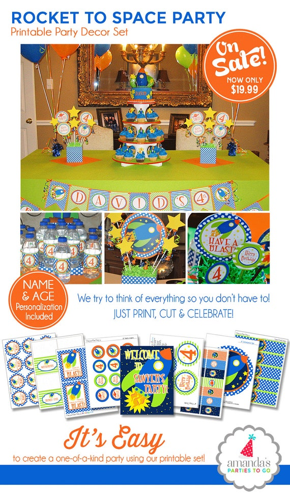 Space Birthday Decorations Space Party Printables Rocket