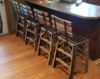 Whiskey Barrel Stave Bar Stools - Made Entirely Of Whiskey Barrel Staves - (ask for shipping quote)
