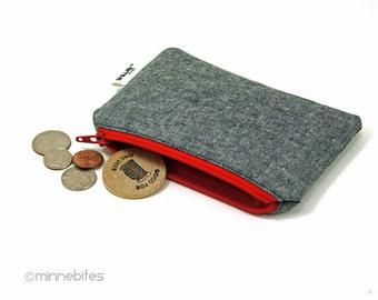 Zip rouge pochette des hommes - cadeau pour petit ami - gars Tech sac - fête des pères - cas - gris pour la monnaie - fermeture à glissière carte portefeuille de voyage - prêt à l'expédition