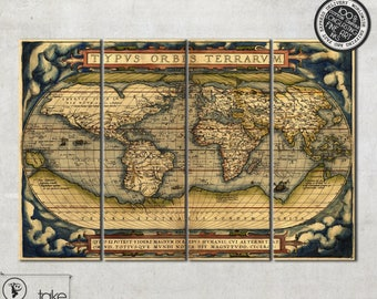 Old map world map 1596 canvas 024 large world map wall art large antique world map canvas old map on 4 gumiabroncs Images