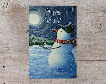 Winter Greeting Card, Printable Greeting Card, Digital Greeting Card, Holiday Greeting Card, Christmas Greeting Card, Snowman Card