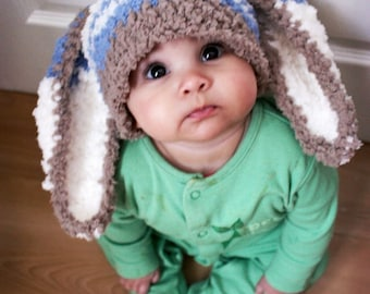 3 to 6m Boy Baby Hat, Bunny Hat Blue Stripe Bunny Beanie, Easter Baby Hat, Brown Blue Cream, Bunny Costume, Rabbit Hat Boy Bunny Hat