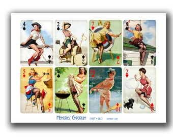 Retro Pin Up Girls Playing Cards Digital Download Clipart 1940s 1950s Pinup Girls Risque 40s 50s Naughty Models Vintage Printables pm 860