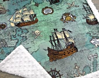 Nautical Baby Blanket - Pirate Baby Blanket - Pirate Map Blanket - Baby Blanket - Pirate Blanket - Nautical Blanket - Minky Baby Blanket