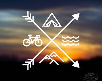 Adventure Icons Vinyl Decal | Mountains Camping Biking Ocean Vinyl Decal | Water Bottle Decal | Car Window Decal | Laptop Decal