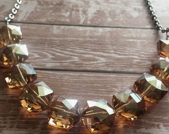 Long crystal glass bead necklace