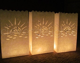 20 Luminary Bags - White - Sunset Design - Wedding, Reception, Party, and Event Decor - Flame Resistant Paper - Luminaria - Twenty Bags