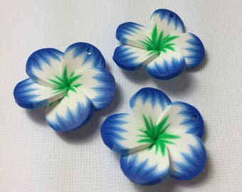 Tropical Polymer Clay Flowers in Blue and Green ... 3 ct.