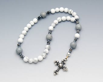 Anglican Prayer Beads - White Howlite Gemstones - Christian Anglican Rosary - Gift Box Included - Item # 739