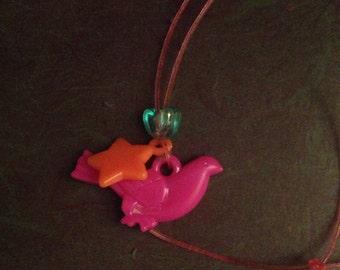 Charm necklace vintage bird star kitsch retro