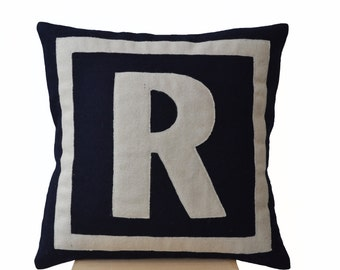 Felt Pillow, Monogram Throw Pillow Cover, Personalized Gifts, Monogram Cushion, Navy Ivory Pillow, Felt Monogram, Felt Cushion 18x18