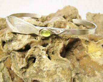 Living Green, Maple Seed, Wing, maple wing jewelry,  cuff bracelet, sterling silver bracelet, Peridot gemstone, gem cuff bracelet