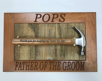 Engraved Mounted Hammer on Plaque, Customize for Dad, Groomsmen or Father of the Bride or Groom