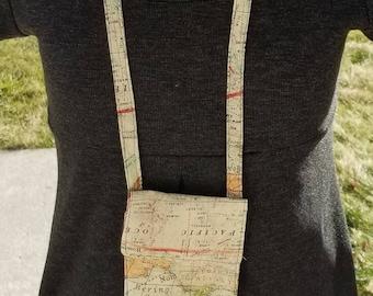 Neck Wallet, Badge Holder, Passport Holder, or Travel Wallet-World Map