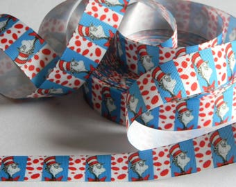 "Cat in the Hat Grosgrain Ribbon 5 yards of 1"" Dr. Seuss Print Red White Blue Ribbon with Red Polka Dots for Girls Hair Bows Birthday Party"
