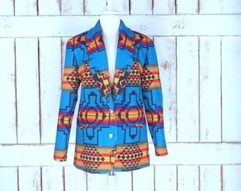 Vintage Pendleton Knockabouts blue/orange Aztec/Southwestern wool blazer jacket/Indian blanket wool tribal print jacket/medium