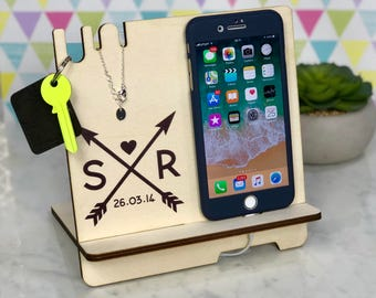 Personalised Gift for Her Couples Anniversary Wife Girlfriend Docking Station Charging Station IPhone 8 Husband Boyfriend Him Wedding Gift
