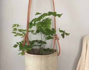 Hanging Planter: Matte White Glaze with Vegetable Tan Leather Strap